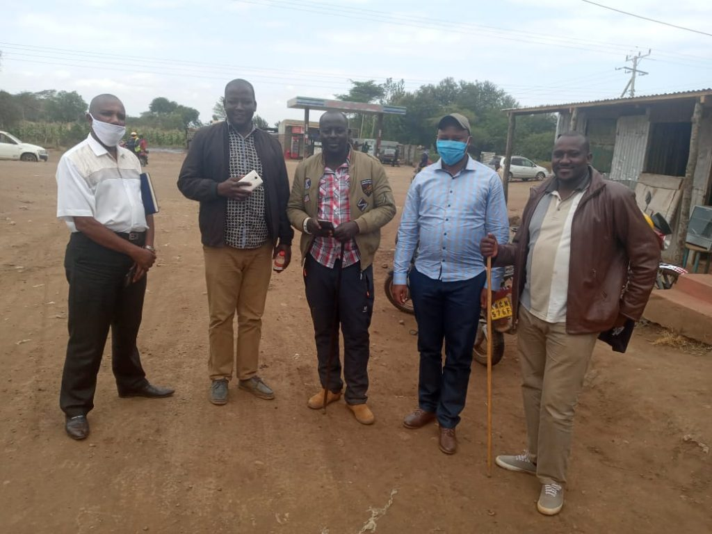 From left CECM in charge of Agriculture Taita Taveta County Davis Mwangoma, Chairman Rombo Group Ranch John Sitelu, Secretary Rombo Group Ranch Joseph Lomuiko, CECM Roads, Housing and Public Works Kajiado County Alex Kilowua, Legal Adviser Isaac Paiyai Tipape